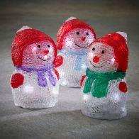 Sneeuwman acryl 3 assorti 10led BO