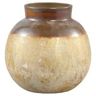 PTMD Maze Gold Ceramic Belly Pot Round