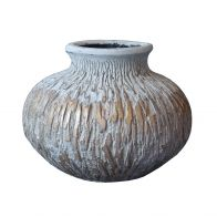 PTMD Lima Grey Cement Pot Ball Round Small Border XS