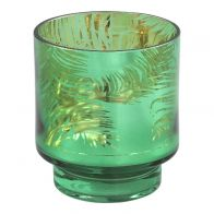 PTMD Palm Glass Green Round Tealight S