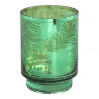 PTMD Palm Glass Green Round Tealight M