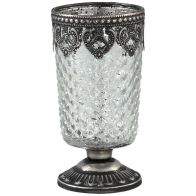 PTMD Carys Glass Antique Metal Tealight Small Round