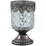 PTMD Carys Glass Antique Metal Tealight Straight Round
