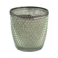 PTMD Femke Glass Green Tealight Bulb Votive Round L