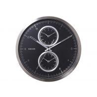 Karlsson Wall Clock Multiple Time Aluminium Black