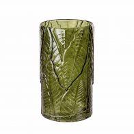 PTMD TEALIGHT LEAVIE GREEN GLASS L